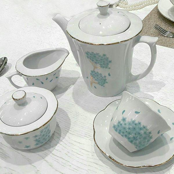 سرویس 17 پارچه چایخوری مقصود مدل نیلوفری طرح قاصدک